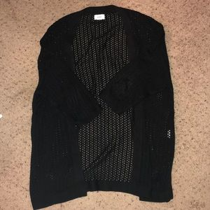 Black 3/4 Sleeve Open Knit cardigan